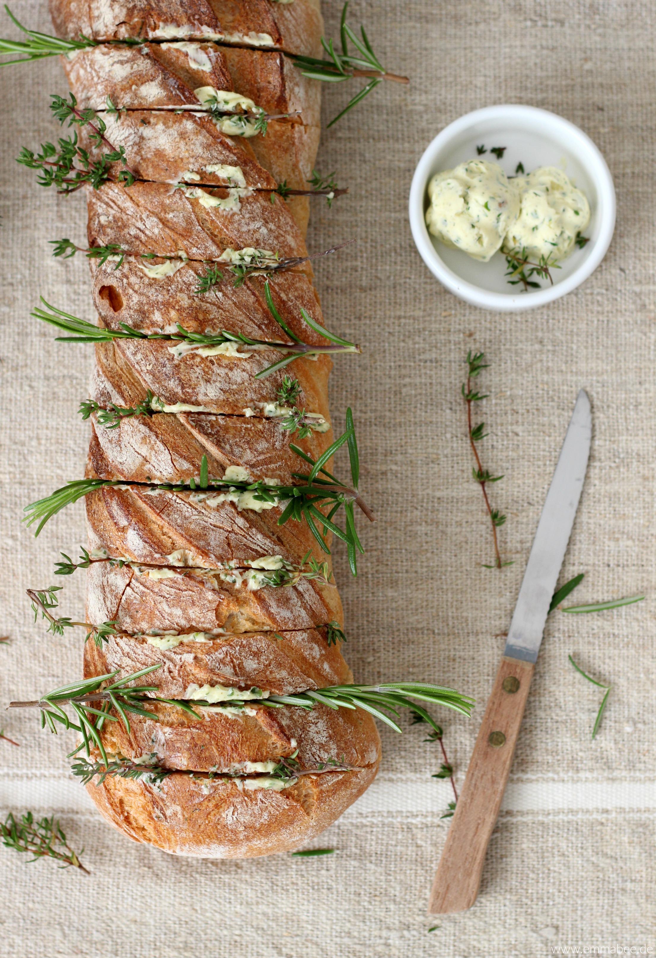 Rezept schnelles ofenbaguette mit kr utern emma bee for Mittagsgerichte schnell
